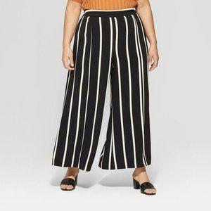 NWOT Who What Wear Women's Pants Wide Leg Stripe
